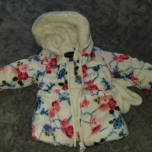 Baby Girl Winter Coat and Mittens